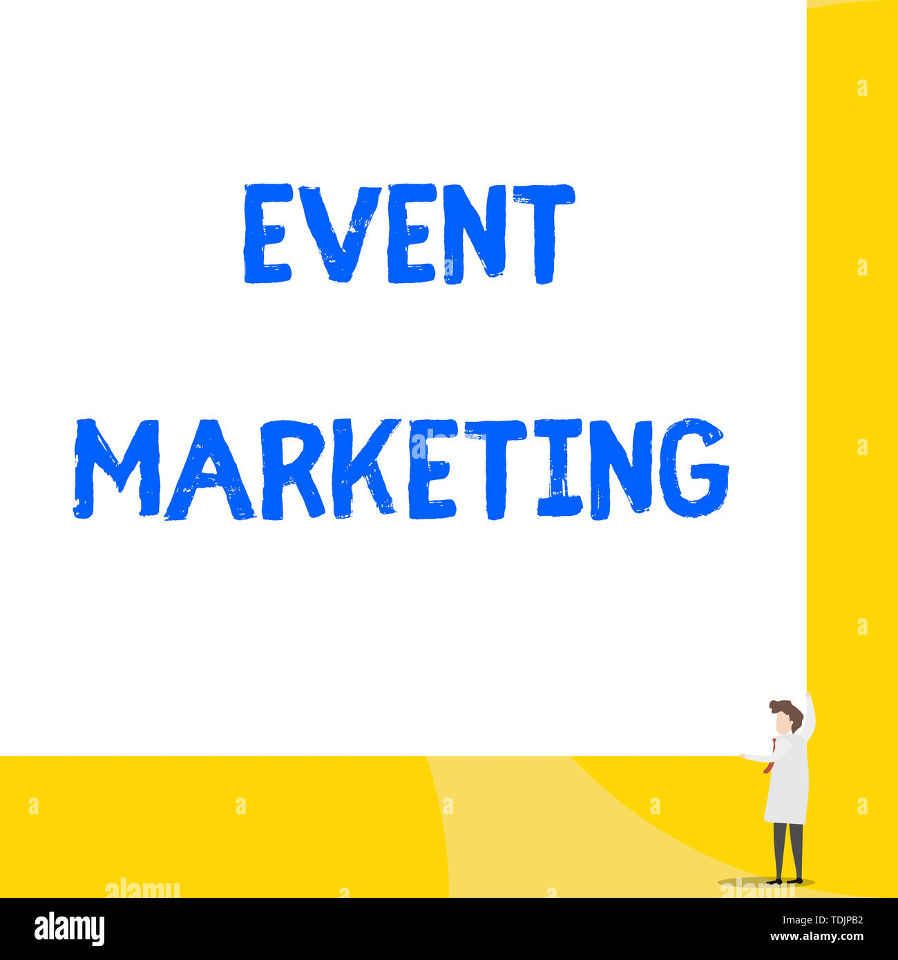 Writing note showing Event Marketing. Business concept for describes process of developing display to promote product Young woman holding two hands ri - Stock Image