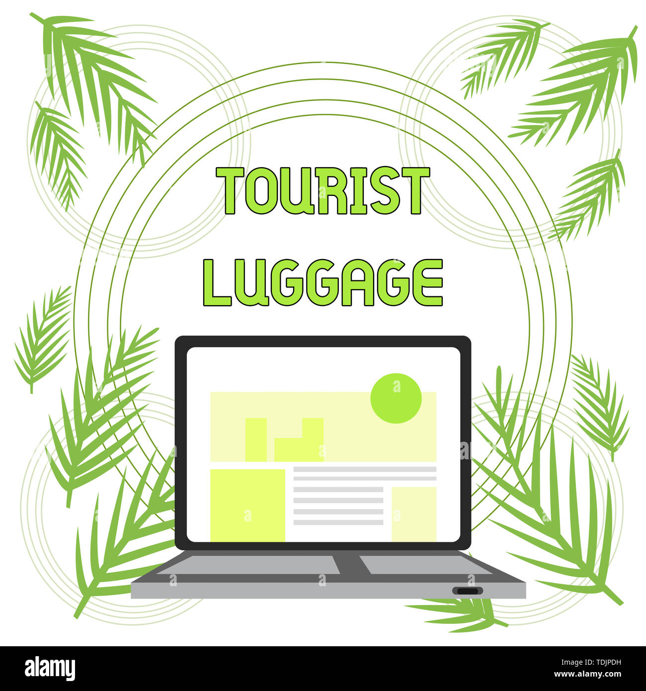 Handwriting text Tourist Luggage. Conceptual photo big bag that contains everything one needs for traveling Open Modern Laptop Switched On with Websit Stock Photo