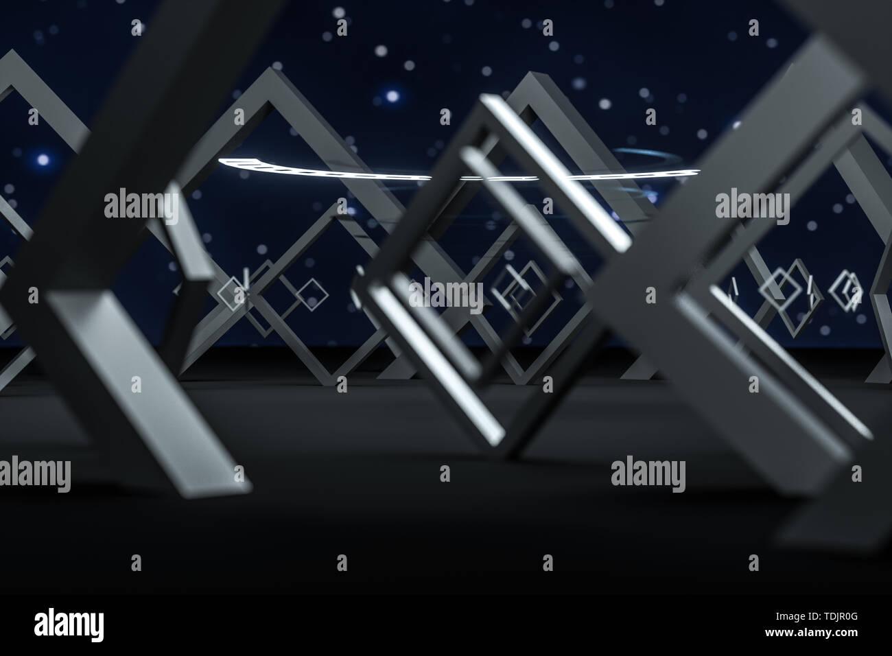3D rendering,special effects polyhedron dark scenes Stock