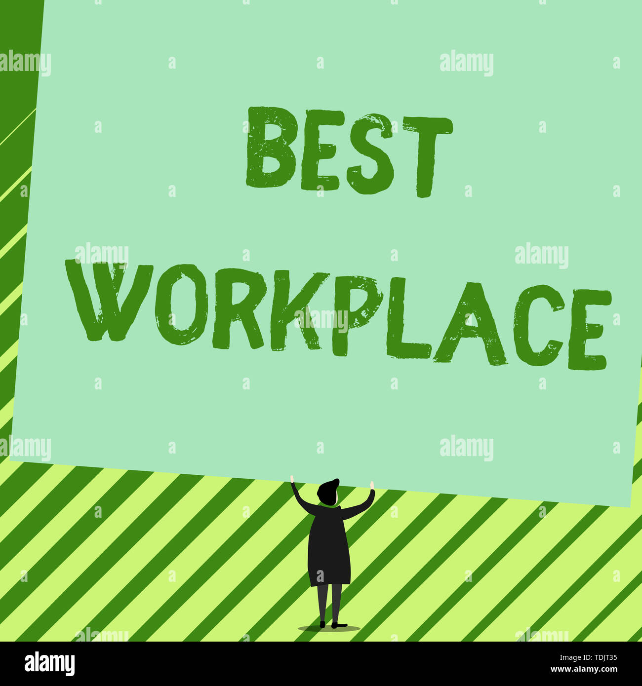 Word writing text Best Workplace. Business photo showcasing Ideal company to work with High compensation Stress free Man stands in back view under hug - Stock Image