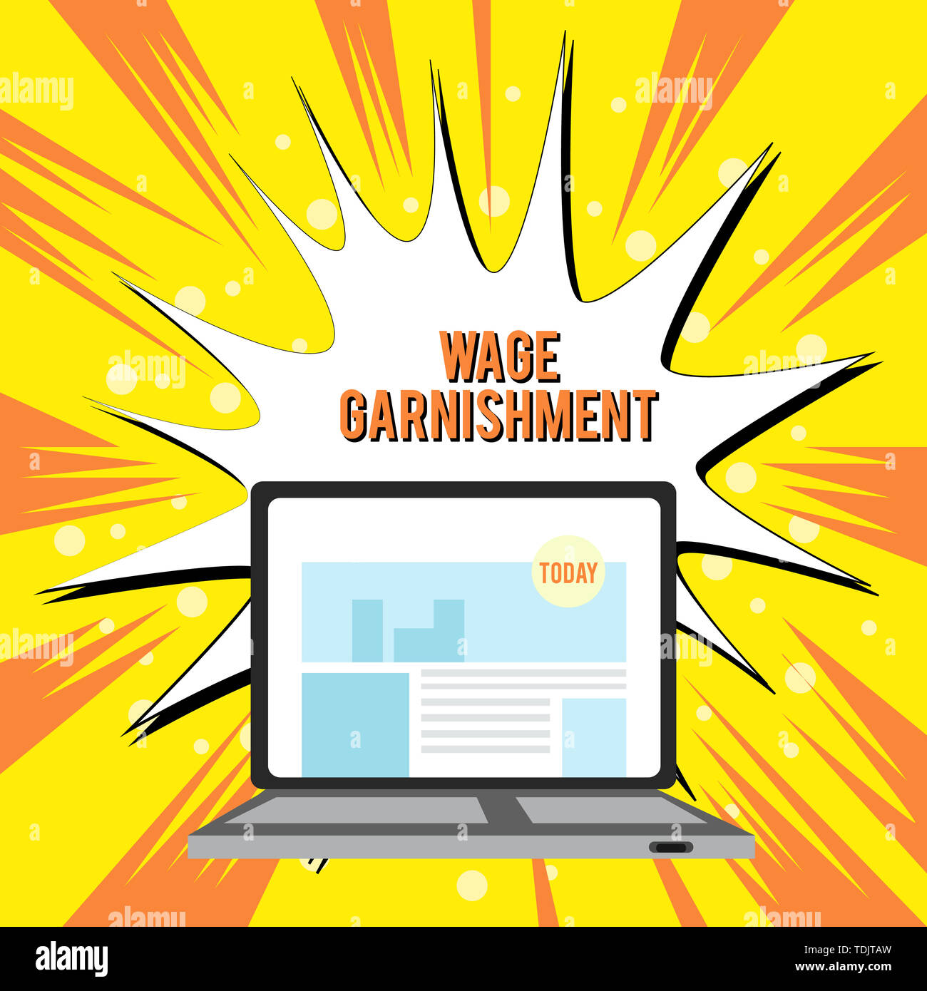 Text sign showing Wage Garnishment. Business photo text Deducting money from compensation ordered by the court Open Modern Laptop Switched On with Web - Stock Image