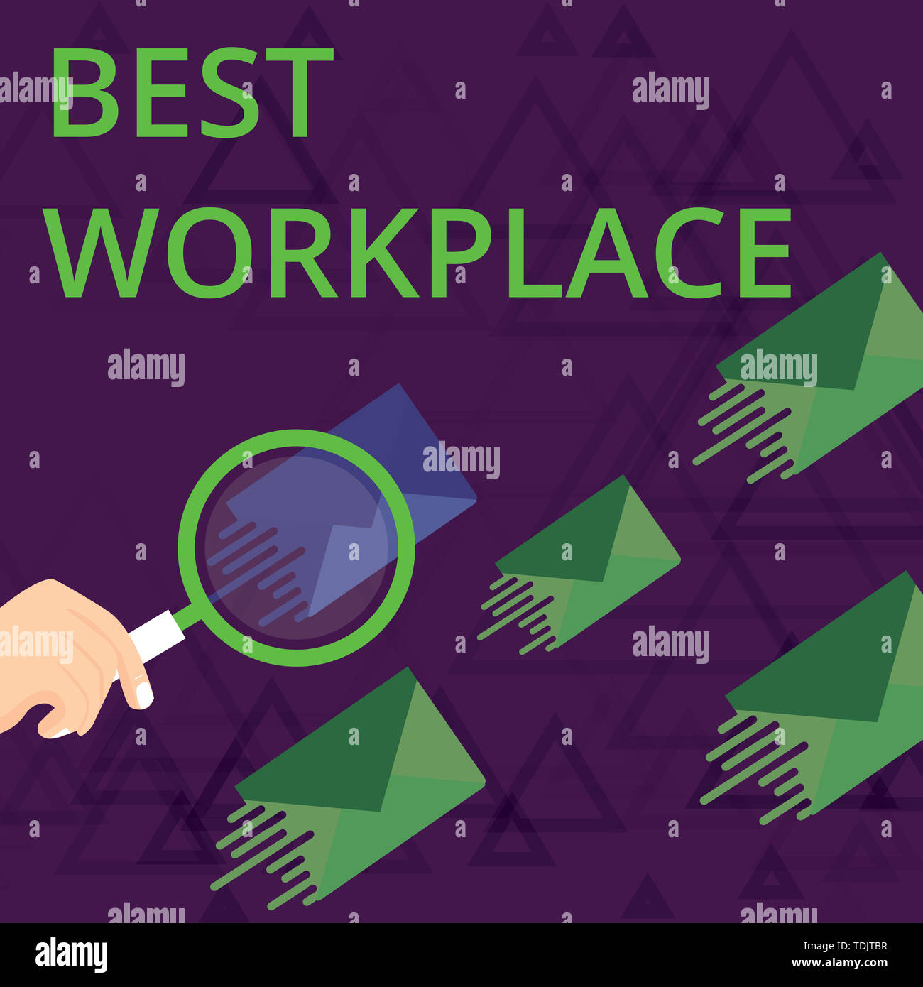 Text sign showing Best Workplace. Business photo showcasing Ideal company to work with High compensation Stress free Magnifying Glass on One Different - Stock Image