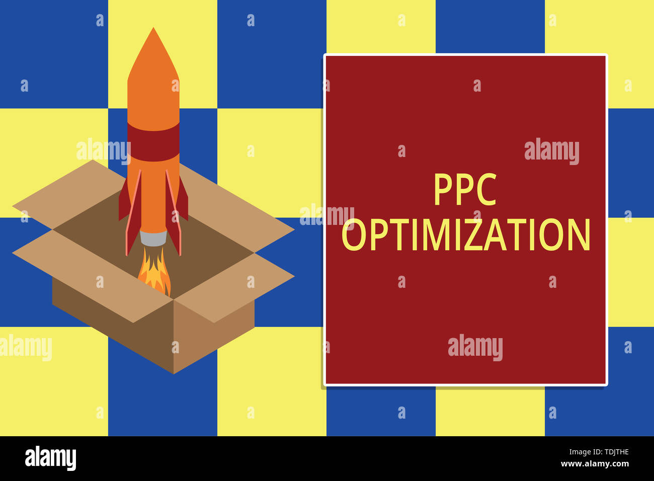 Text sign showing Ppc Optimization. Business photo text Enhancement of search engine platform for pay per click Fire launching rocket carton box. Star - Stock Image