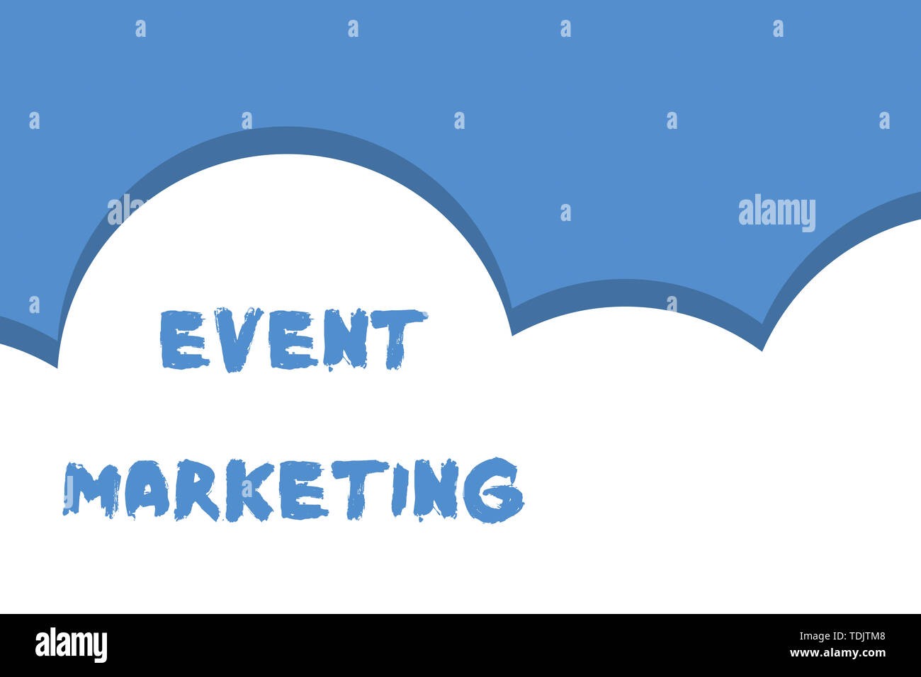 Writing note showing Event Marketing. Business concept for describes process of developing display to promote product Half cloud blue sky landscape Se Stock Photo