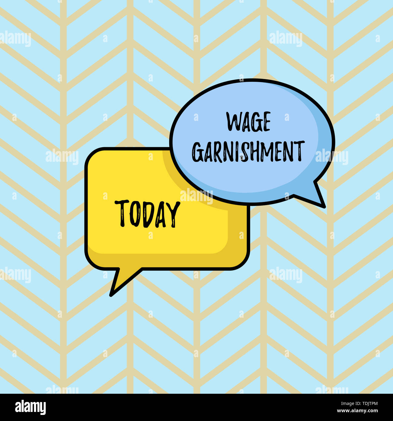 Writing note showing Wage Garnishment. Business concept for Deducting money from compensation ordered by the court Pair of Overlapping Blank Speech Bu - Stock Image