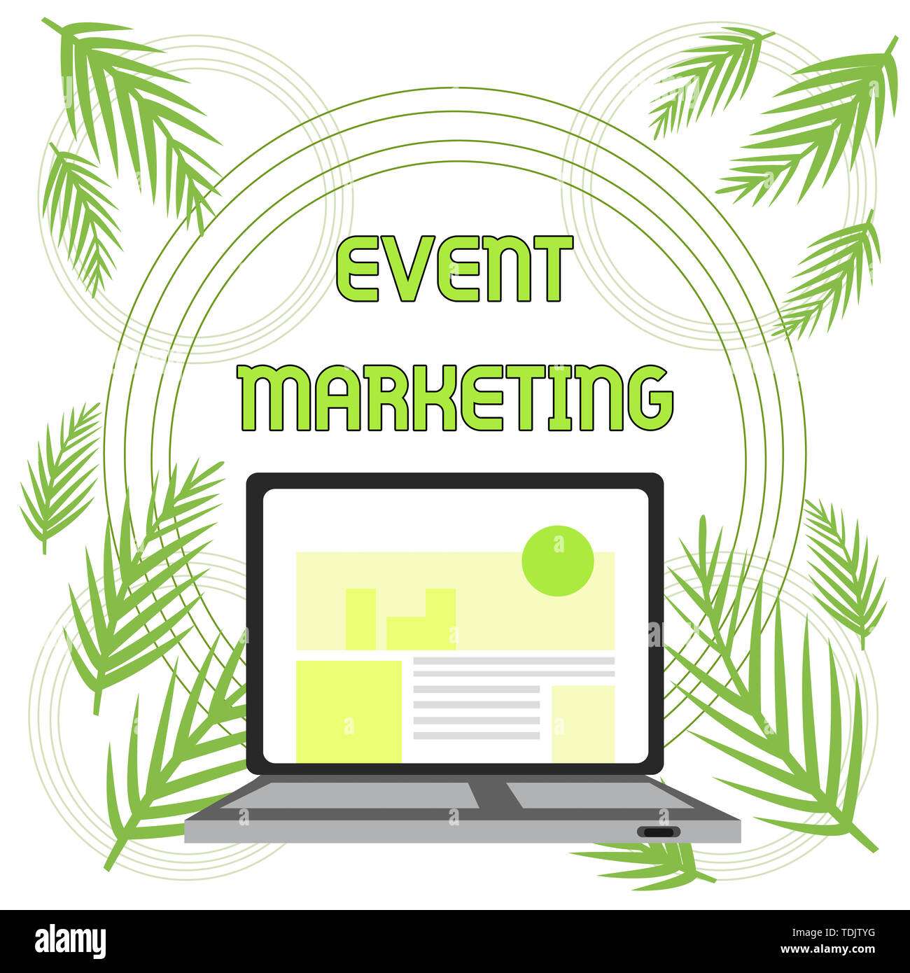 Handwriting text Event Marketing. Conceptual photo describes process of developing display to promote product Open Modern Laptop Switched On with Webs Stock Photo