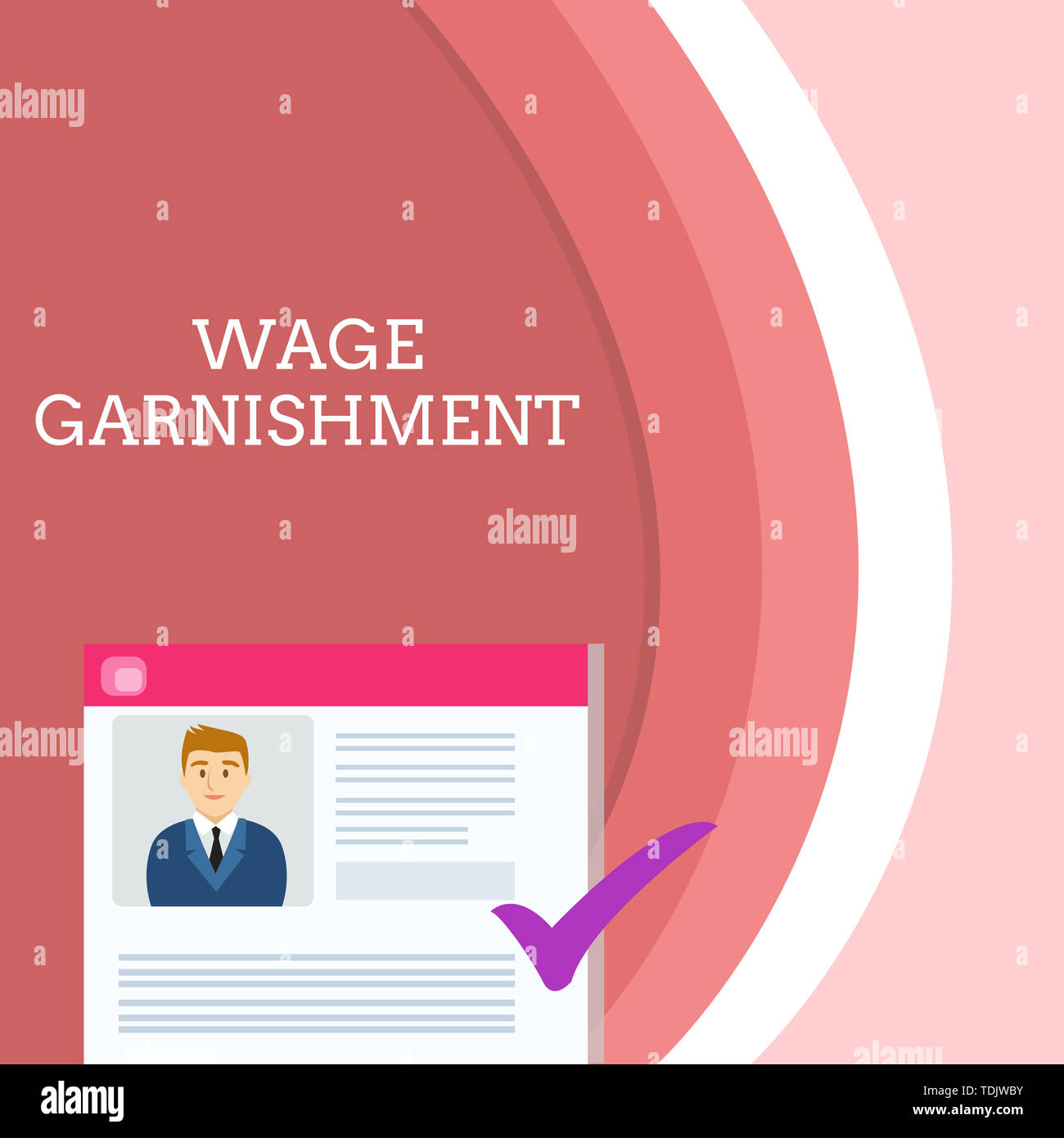 Handwriting text writing Wage Garnishment. Conceptual photo Deducting money from compensation ordered by the court Curriculum Vitae Resume of Young Ma - Stock Image
