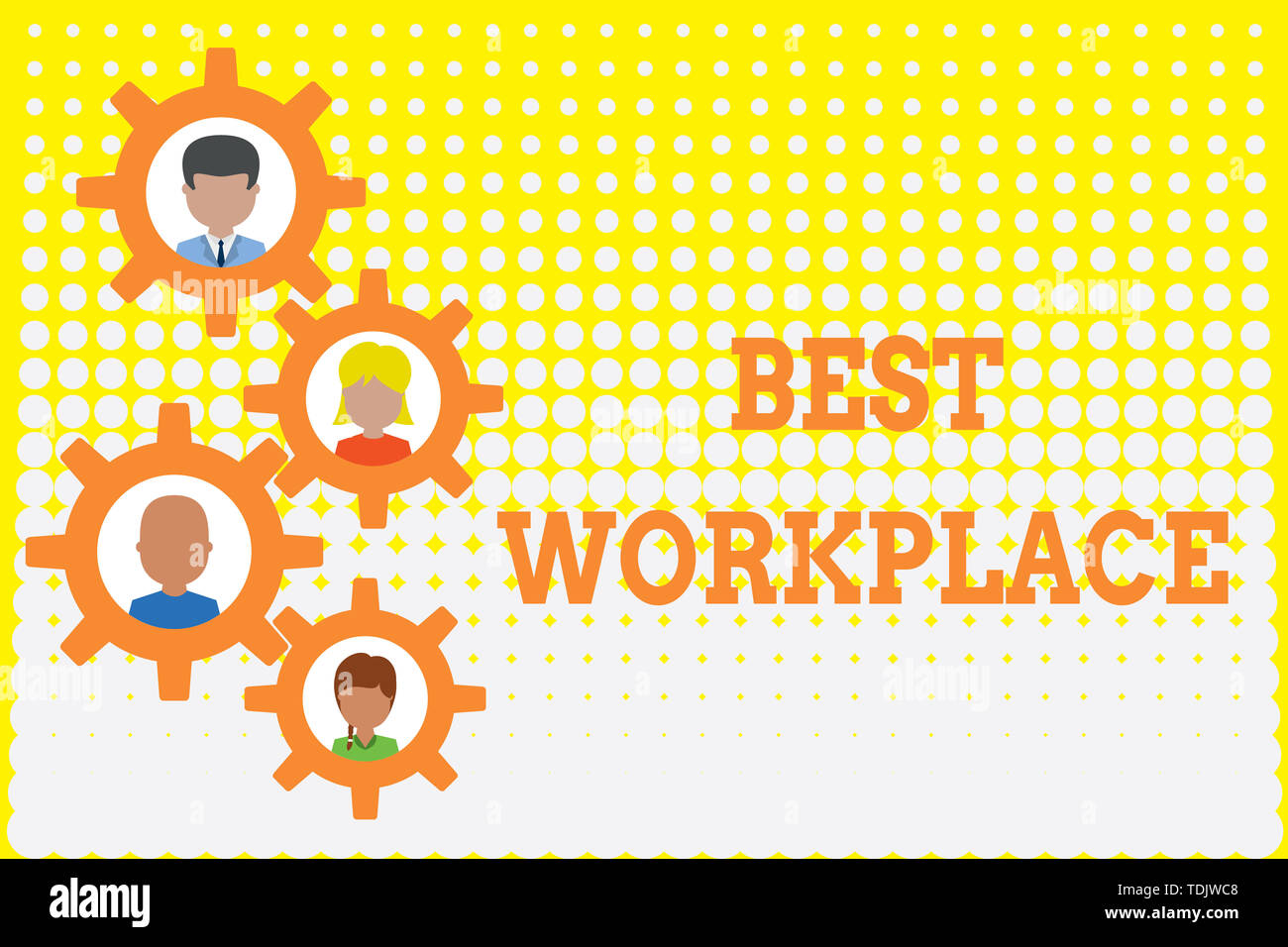 Conceptual hand writing showing Best Workplace. Concept meaning Ideal company to work with High compensation Stress free Gearshaped picture frame fami - Stock Image