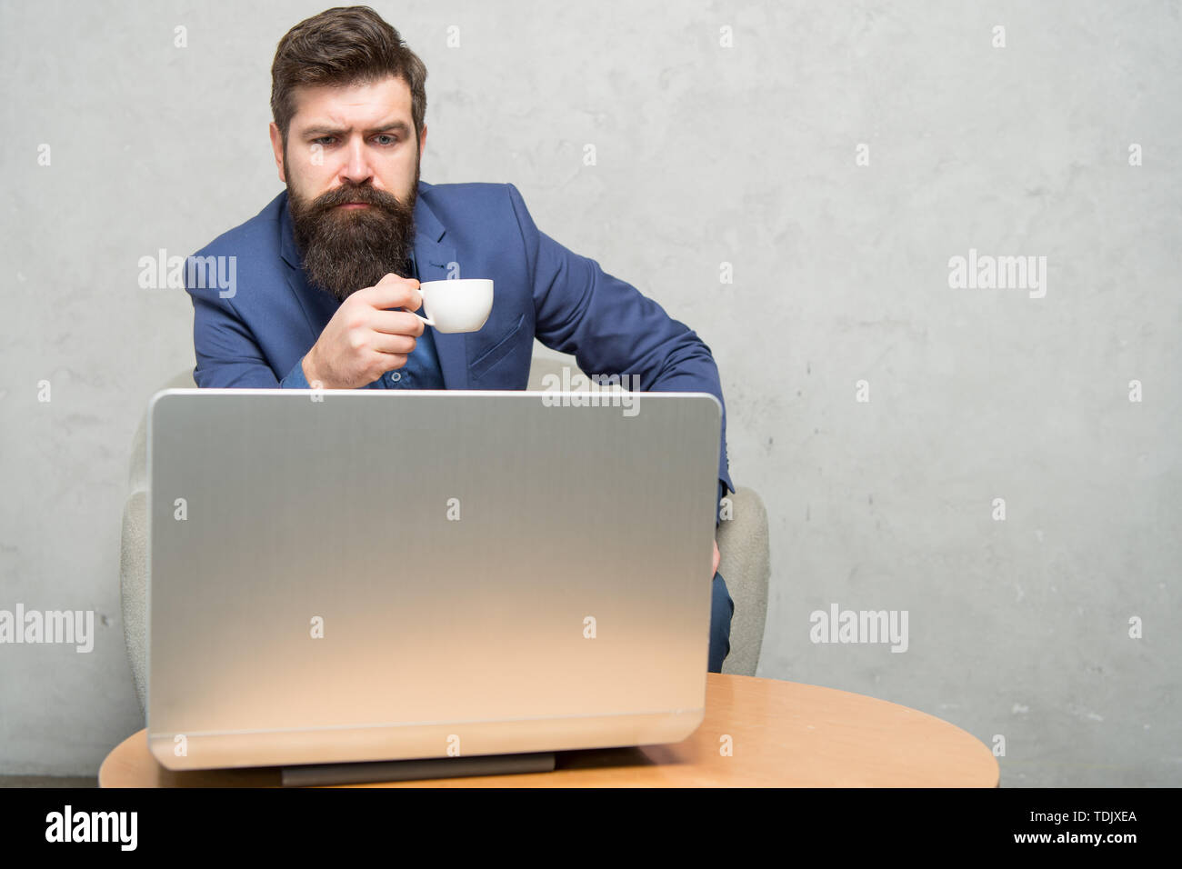 Modern businessman. Businessman work laptop. Responding business email. Surfing internet. Project manager. Digital business. Financial consultation. Banker or accountant. Business correspondence. - Stock Image