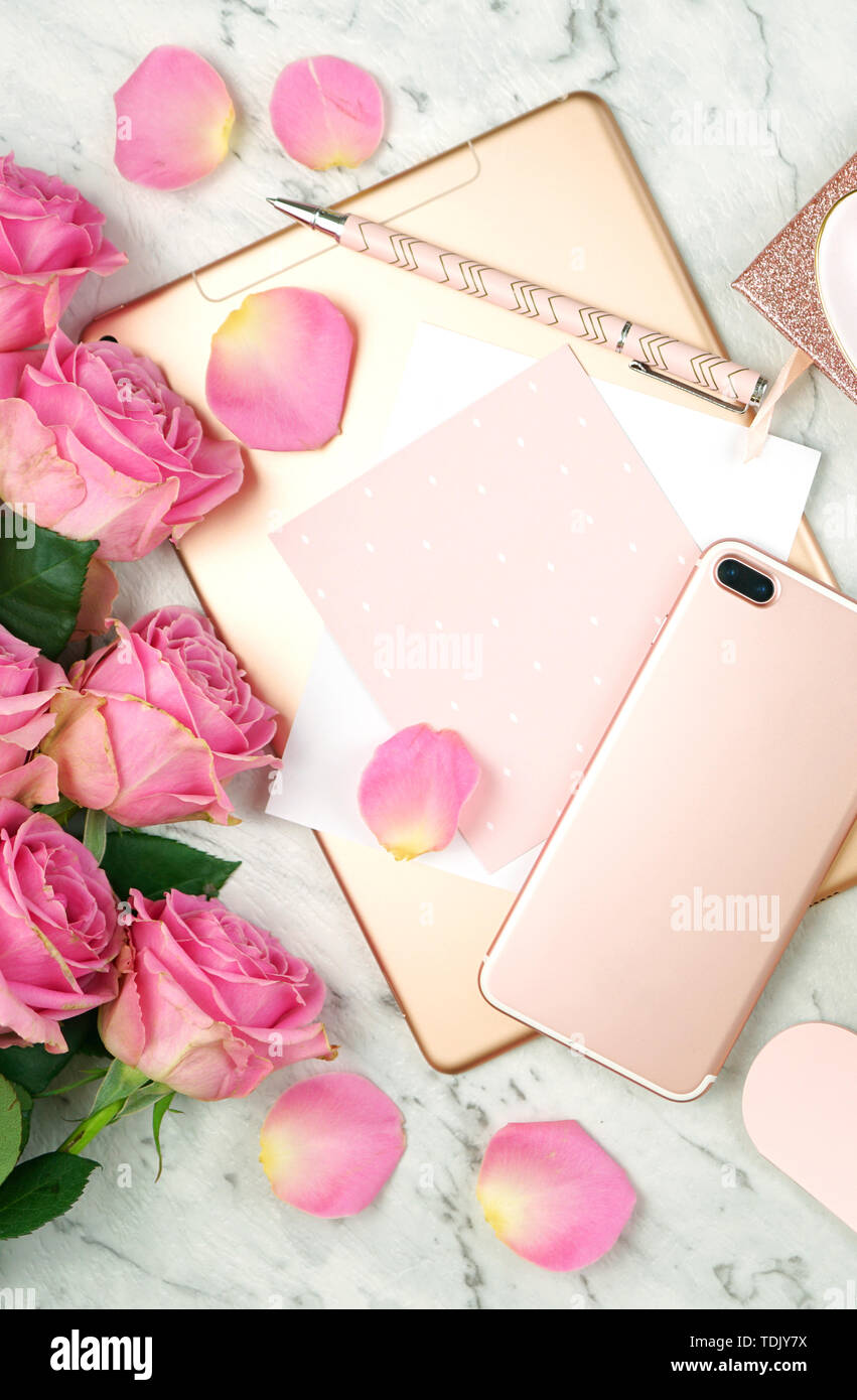 Ultra Feminine Pink Desk Workspace With Rose Gold Accessories On White Marble Background Flatlay Overhead Stock Photo Alamy
