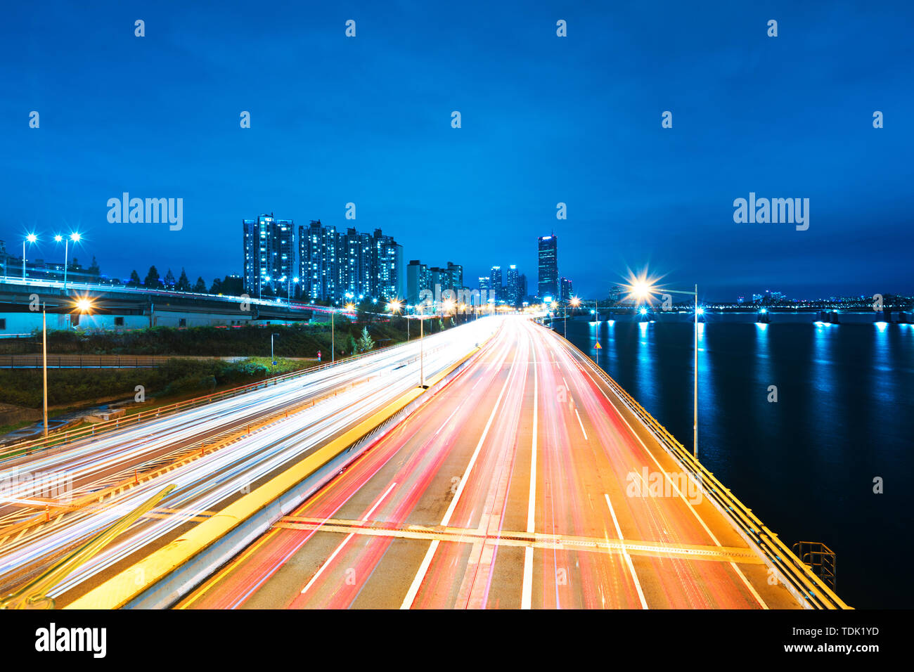 busy traffic on road in midtown of seoul at night Stock Photo