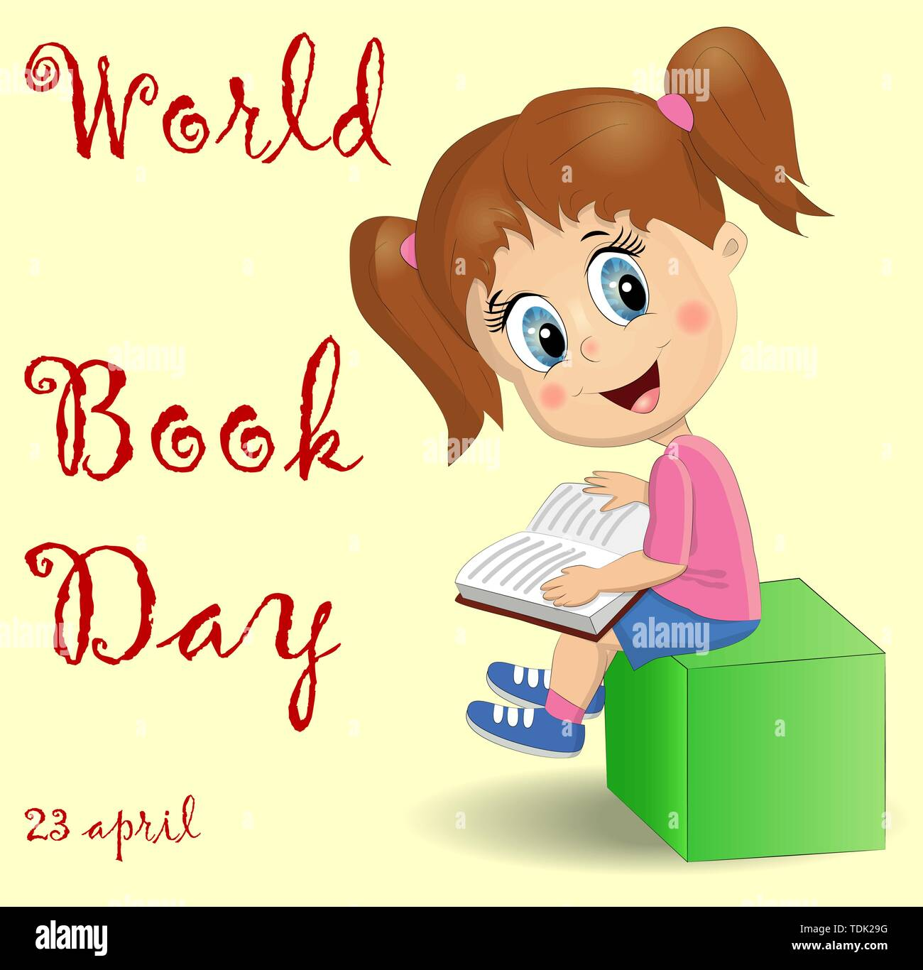 International Children's book day poster. Cute girl with a pile of books. - Stock Vector