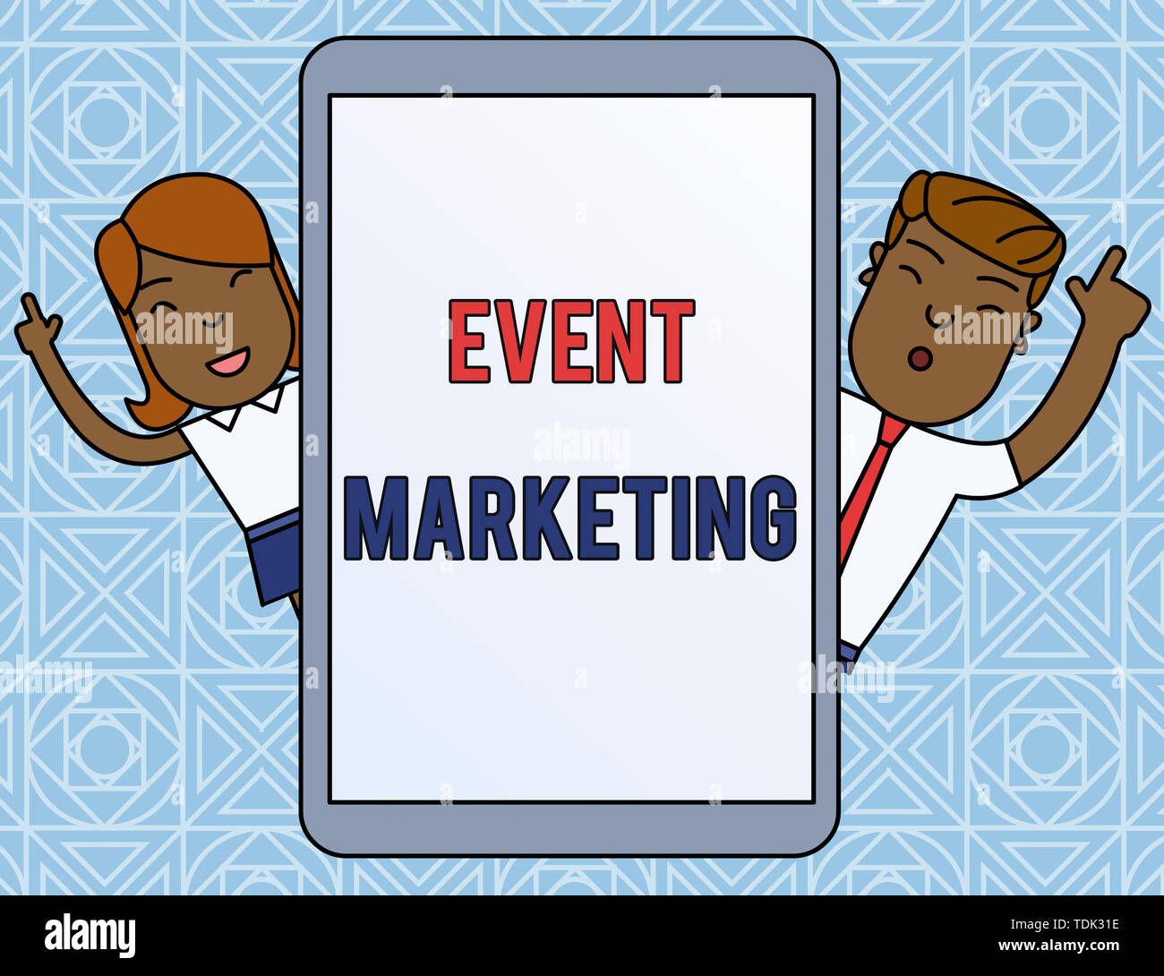 Word writing text Event Marketing. Business photo showcasing describes process of developing display to promote product Male and Female Index Fingers  - Stock Image