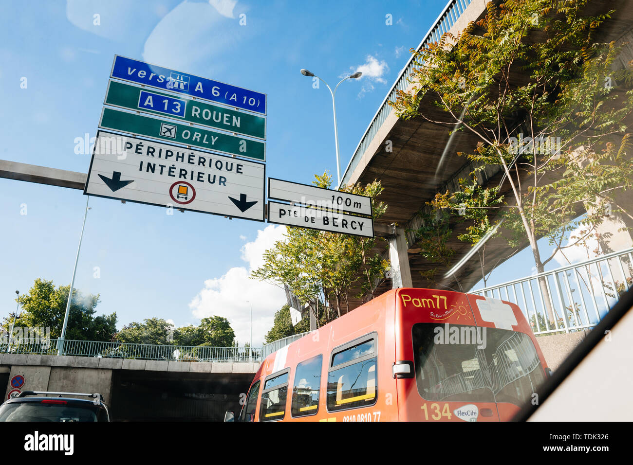 Paris, France - May 14, 2014: Driver POV point of view personal perspective at the traffic jam front driving cars entering Paris peripherique interieur Roue, A 13, Porte de Bercy - Stock Image