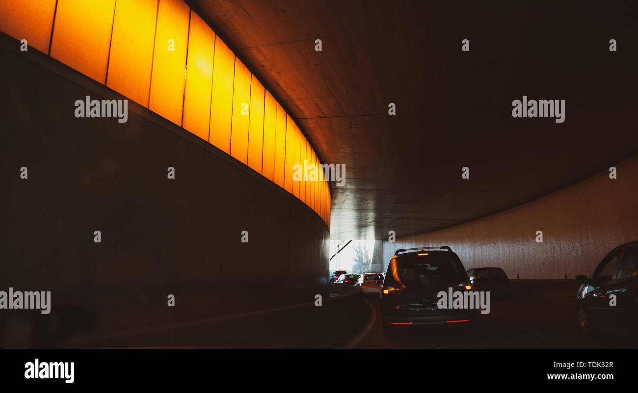 Driver POV point of view personal perspective at the traffic jam front driving cars inside the tunnels of Paris Peripherique ring road - Stock Image