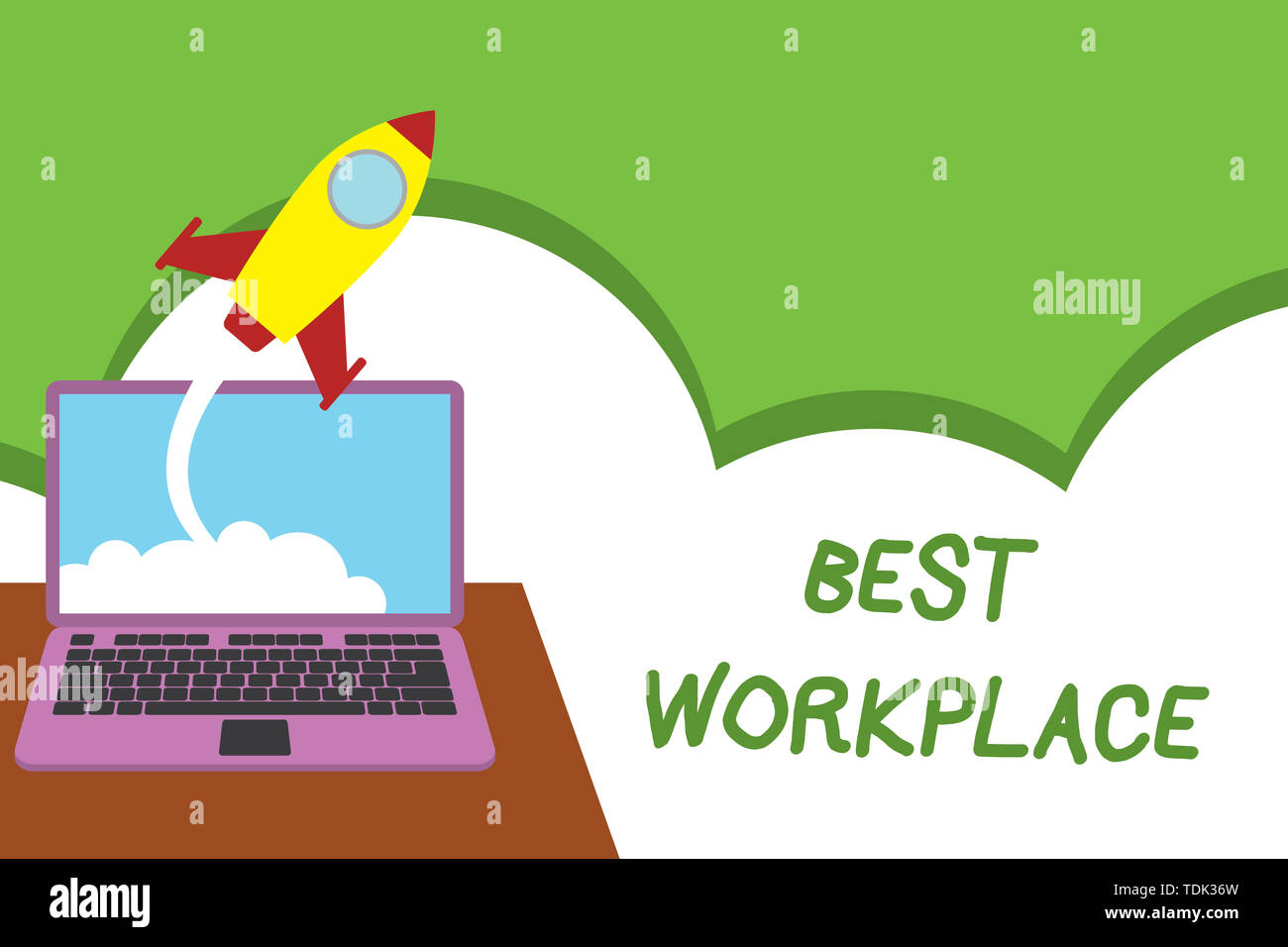 Text sign showing Best Workplace. Business photo showcasing Ideal company to work with High compensation Stress free Successful rocket launching cloud - Stock Image