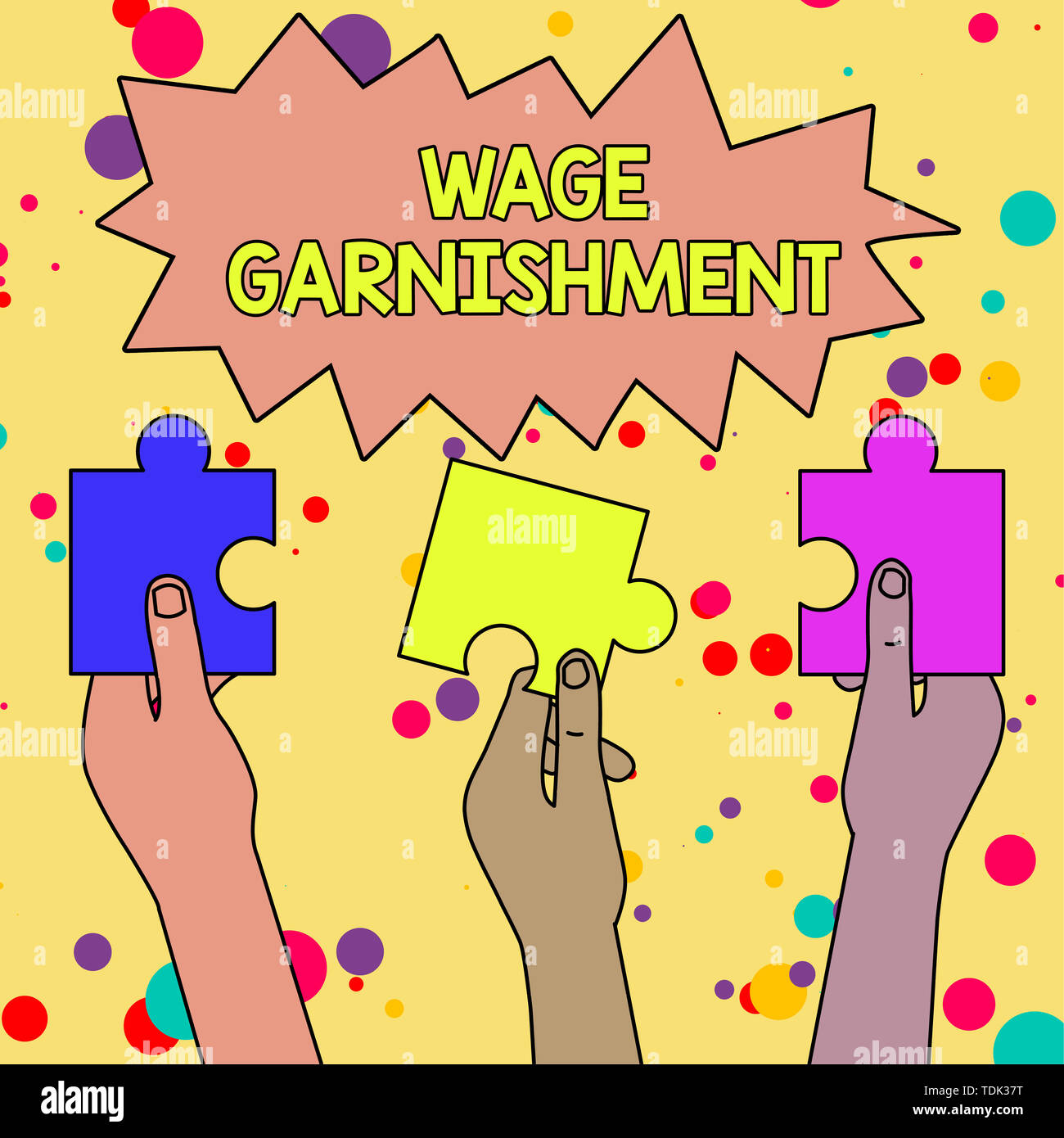 Text sign showing Wage Garnishment. Business photo showcasing Deducting money from compensation ordered by the court Three Colored Empty Jigsaw Puzzle - Stock Image
