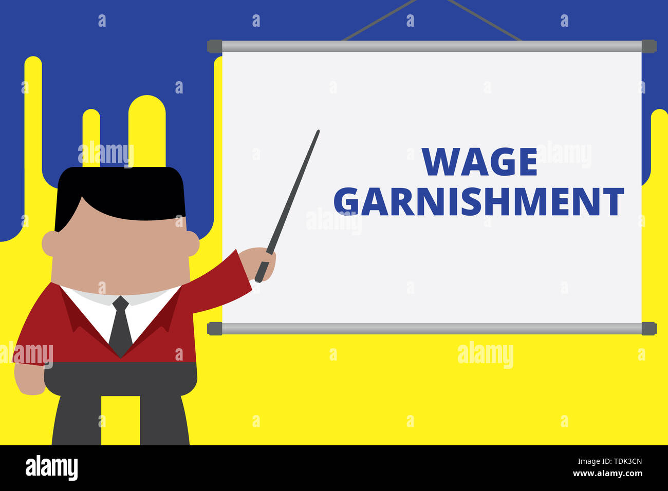 Handwriting text writing Wage Garnishment. Conceptual photo Deducting money from compensation ordered by the court Businessman standing in front proje - Stock Image