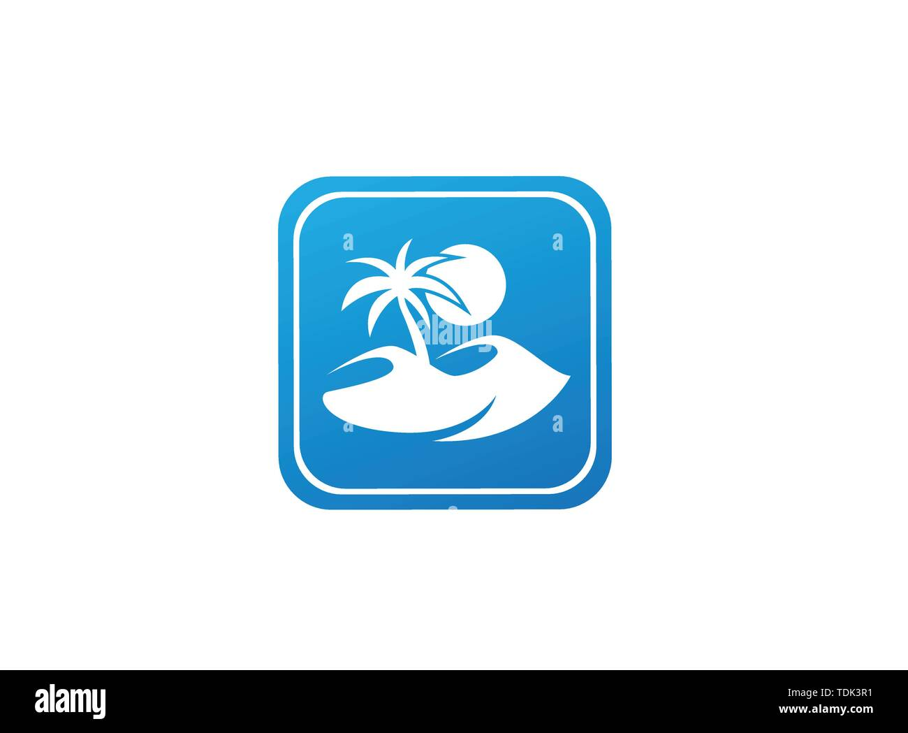 desert logo palm and sand and sun design illustration in the shape - Stock Image