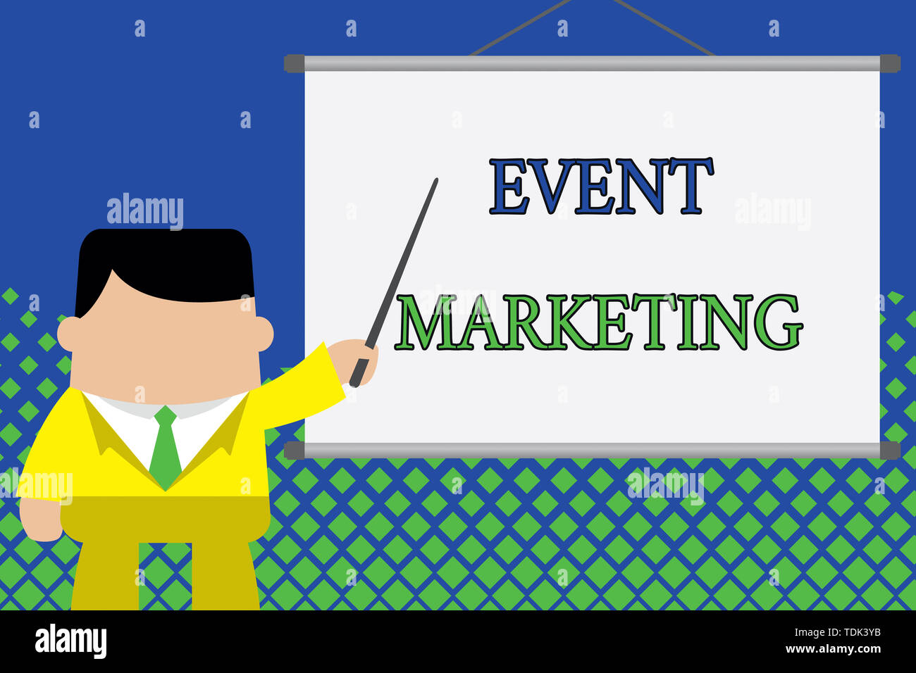 Writing note showing Event Marketing. Business concept for describes process of developing display to promote product Businessman standing in front pr Stock Photo