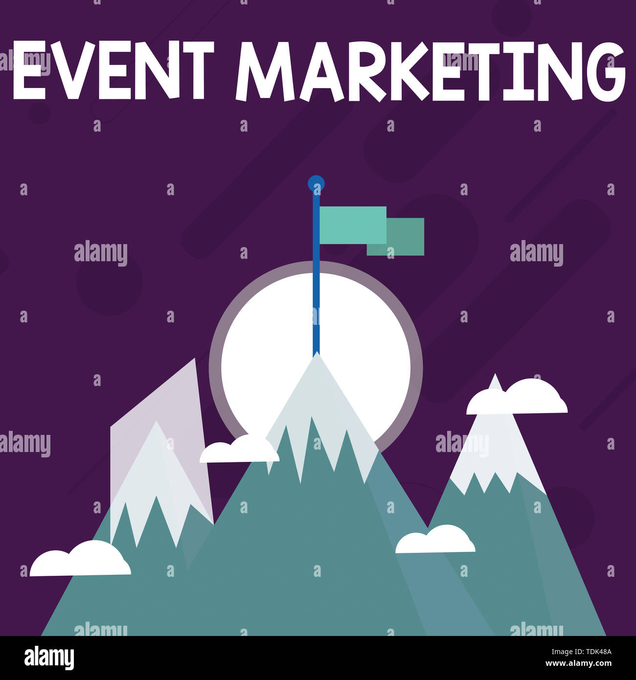 Conceptual hand writing showing Event Marketing. Concept meaning describes process of developing display to promote product Three High Mountains with  - Stock Image
