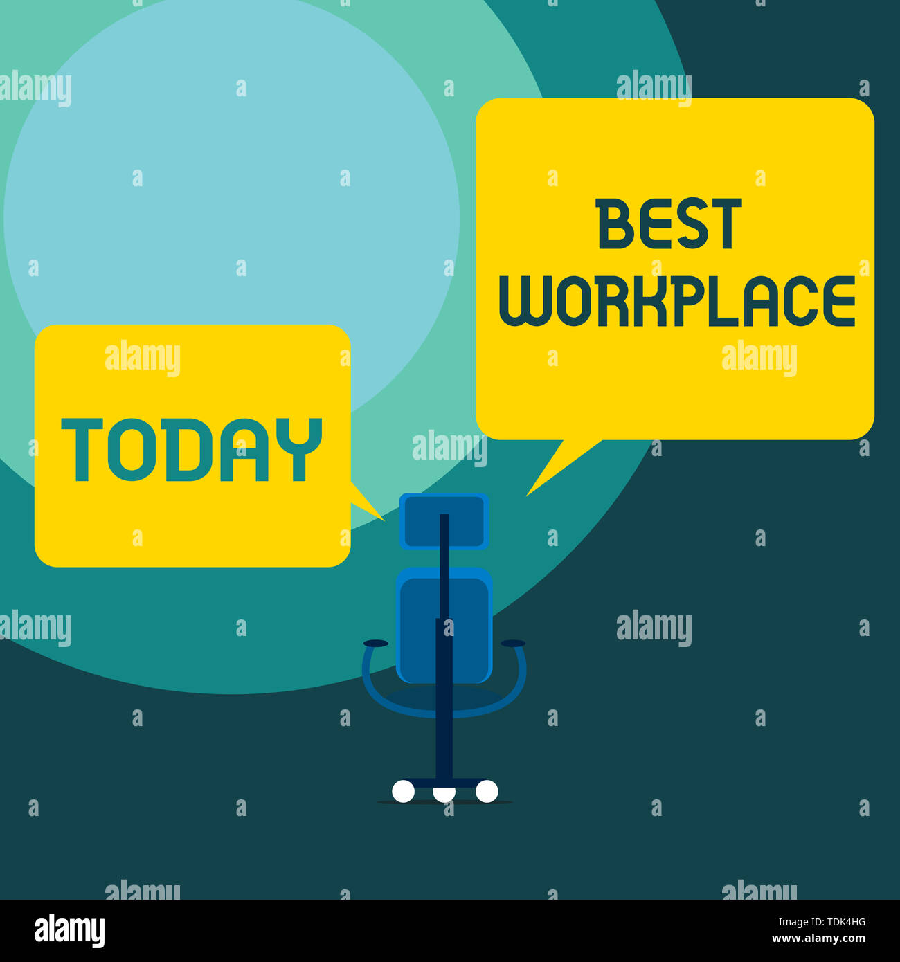 Conceptual hand writing showing Best Workplace. Concept meaning Ideal company to work with High compensation Stress free Executive chair sharing two b - Stock Image