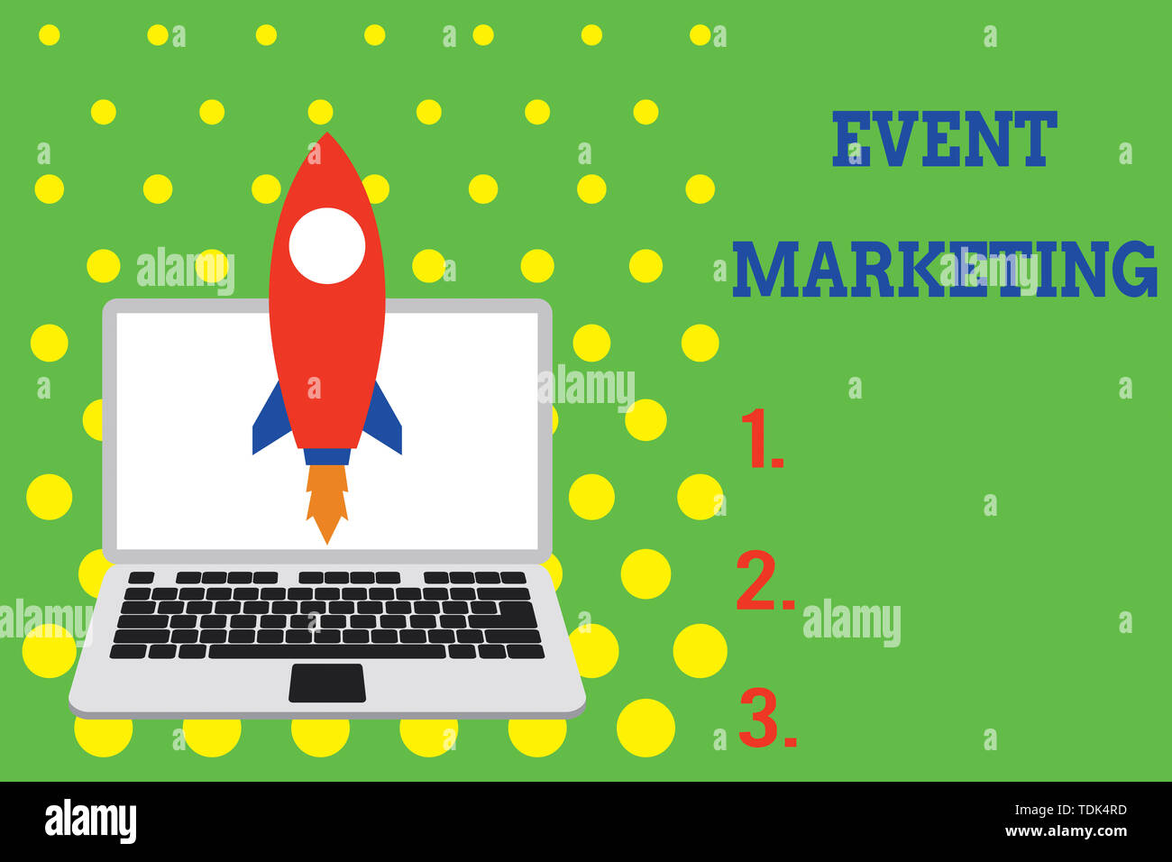Handwriting text Event Marketing. Conceptual photo describes process of developing display to promote product Launching rocket up laptop . Startup pro Stock Photo