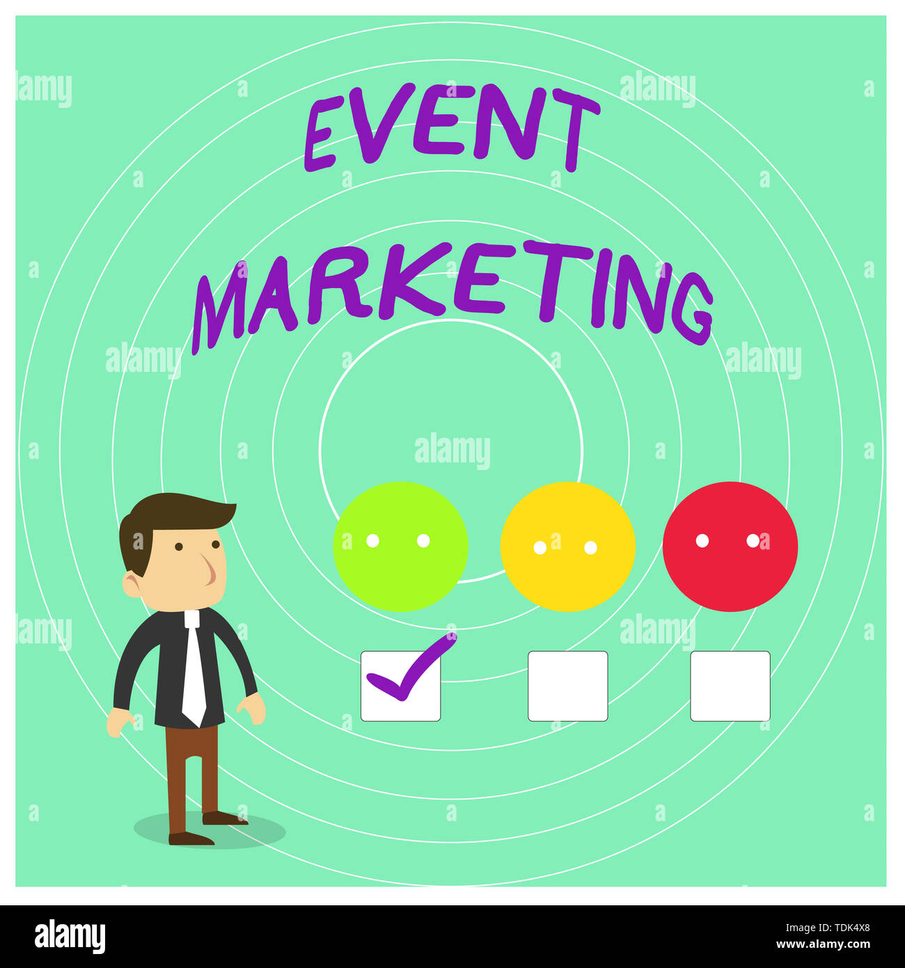Conceptual hand writing showing Event Marketing. Concept meaning describes process of developing display to promote product White Questionnaire Survey Stock Photo