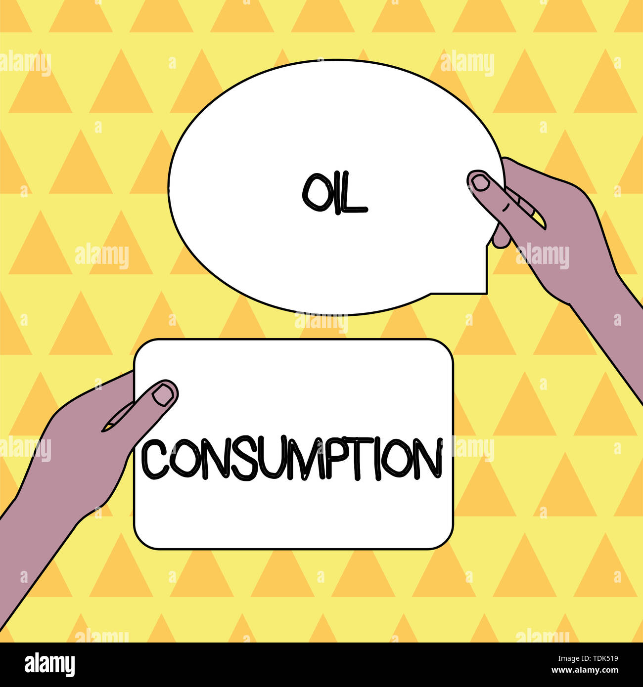 Handwriting text Oil Consumption. Conceptual photo This entry is the total oil consumed in barrels per day Two Blank Figured Tablets Signs Held in Han Stock Photo