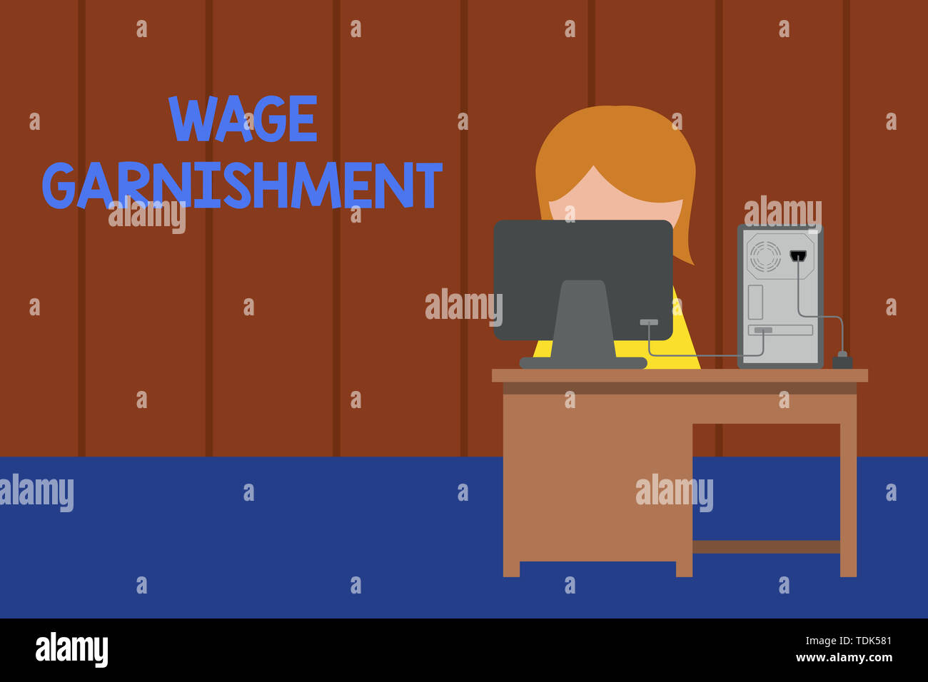 Word writing text Wage Garnishment. Business photo showcasing Deducting money from compensation ordered by the court Young female working office sitti - Stock Image