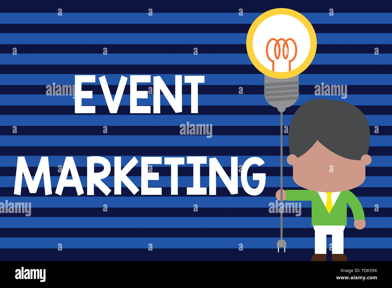 Writing note showing Event Marketing. Business concept for describes process of developing display to promote product Standing man tie holding plug so - Stock Image