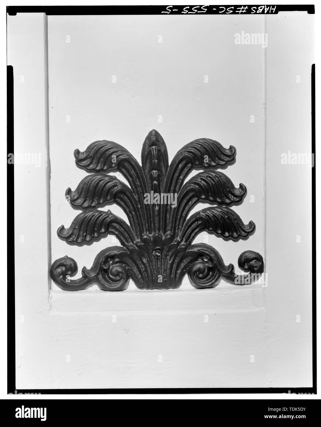 ORNAMENT ON COLUMNS AND MAIN ENTRY - 60 Hasell Street (Mansion), Charleston, Charleston County, SC - Stock Image