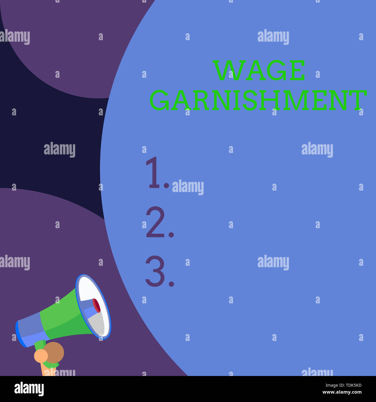 Conceptual hand writing showing Wage Garnishment. Concept meaning Deducting money from compensation ordered by the court Blank huge balloon empty text - Stock Image