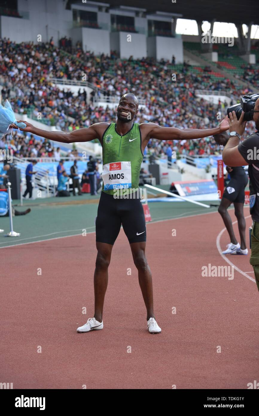(190617)-- RABAT, June 17, 2019 (Xinhua) -- Nijel Amos of Botswana celebrates after the men's 800m at 2019 IAAF Diamond League in Rabat, capital of Morocco, on June 16, 2019. Nijel Amos won the 1st place with 1:45.57. (Xinhua/Chadi) - Stock Image