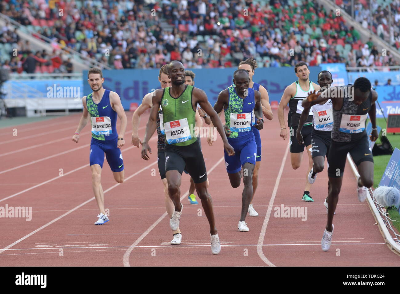 (190617)-- RABAT, June 17, 2019 (Xinhua) -- Nijel Amos(Front L) of Botswana reacts after the men's 800m at 2019 IAAF Diamond League in Rabat, capital of Morocco, on June 16, 2019. Nijel Amos won the 1st place with 1:45.57. (Xinhua/Chadi) - Stock Image