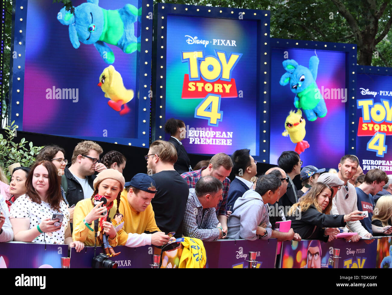London, UK. 16th June, 2019. People attend the European Premiere of Toy Story 4 at Odeon Luxe, Leicester Square in London. Credit: SOPA Images Limited/Alamy Live News - Stock Image