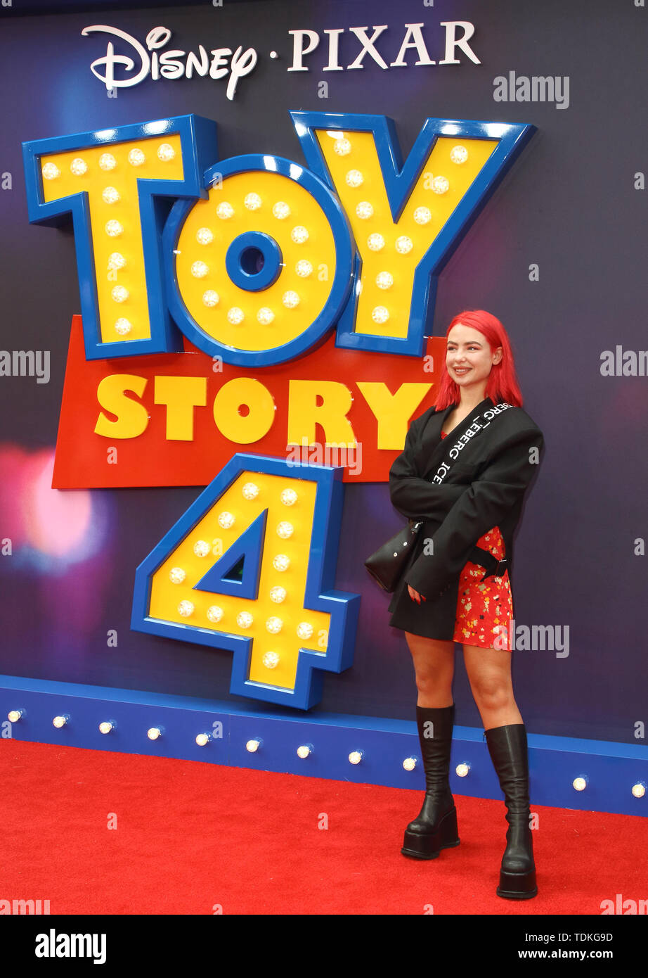 London, UK. 16th June, 2019. Jess Woodley attends the European Premiere of Toy Story 4 at Odeon Luxe, Leicester Square in London. Credit: SOPA Images Limited/Alamy Live News - Stock Image