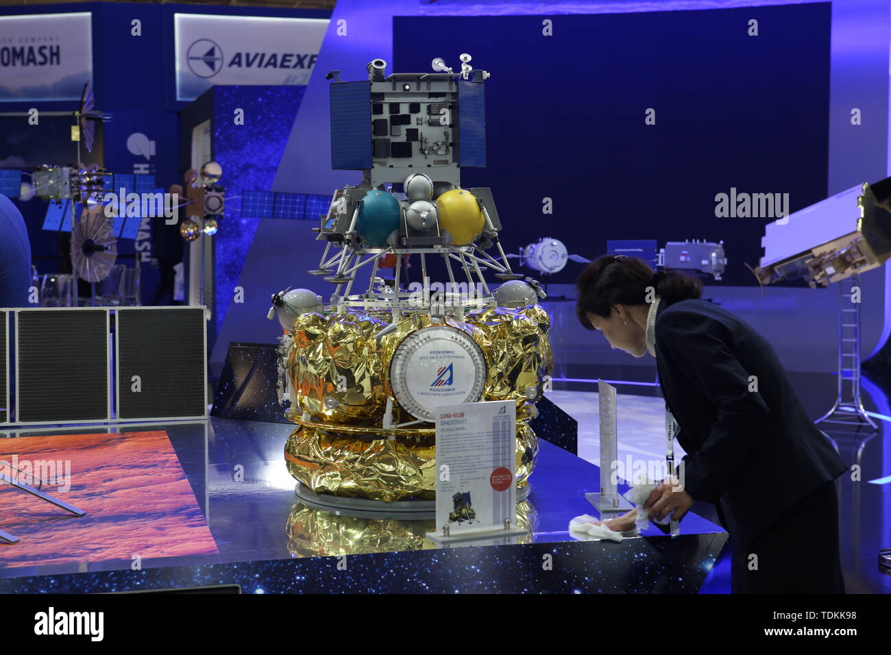 Paris, France. 17th June, 2019.  A scale model of the Luna-Glob spacecraft, developed by Roscosmos, on display at the 2019 Paris Air Show opened at Le Bourget Airport. Marina Lystseva/TASS Credit: ITAR-TASS News Agency/Alamy Live News Credit: ITAR-TASS News Agency/Alamy Live News - Stock Image