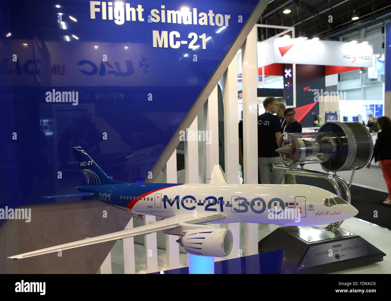 France. 17th June, 2019. Paris, France. 17th June, 2019A scale model of an Irkut MC-21 medium- and long-range narrow-body twinjet airliner, developed by UAC (United Aircraft Corporation), on display at the 2019 Paris Air Show opened at Le Bourget Airport. Marina Lystseva/TASS Credit: ITAR-TASS News Agency/Alamy Live News - Stock Image