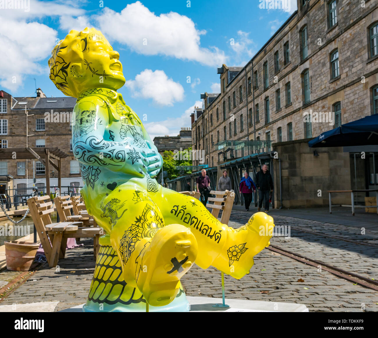Leith, Edinburgh, Scotland, United Kingdom, 17 June 2019. Oor Wullie's Big Bucket Trail: An art trail of 200 Oor Wullie sculptures appear in Scottish cities in a mass arts event that lasts until August 30th. Oor Wullie is an iconic Scottish cartoon character from the Sunday Post newspaper. The sculptures will be auctioned to raise money for Scotland's children's hospital charities. There are 5 in the Leith area, and 60 in Edinburgh altogether.  Sailoor Wullie by The Leith Agency Stock Photo