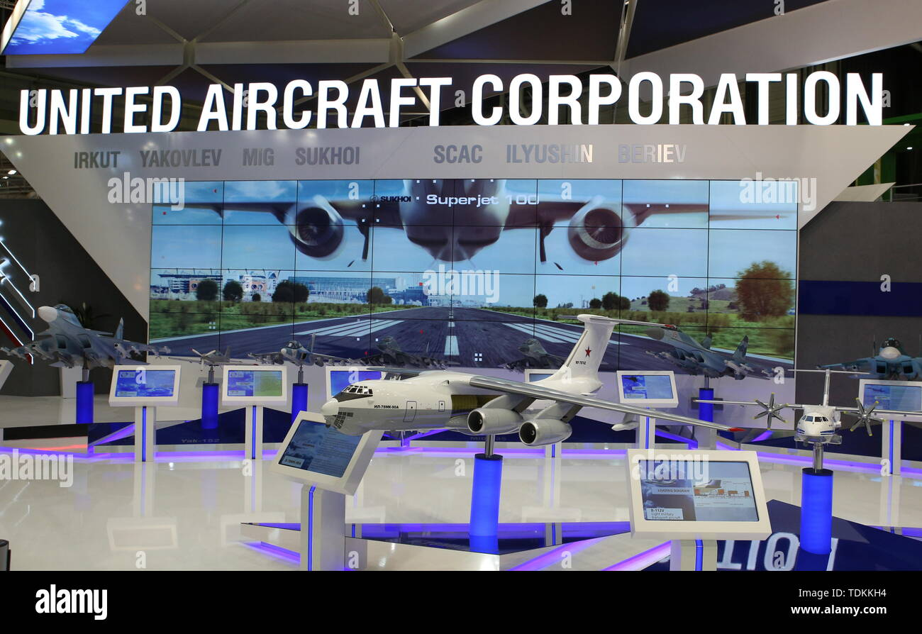 France. 17th June, 2019. Paris, France. 17th June, 2019A scale model of an Ilyushin Il-78MK-90A tanker aircraft on display at the UAC (United Aircraft Corporation) stand at the 2019 Paris Air Show opened at Le Bourget Airport. Marina Lystseva/TASS Credit: ITAR-TASS News Agency/Alamy Live News - Stock Image