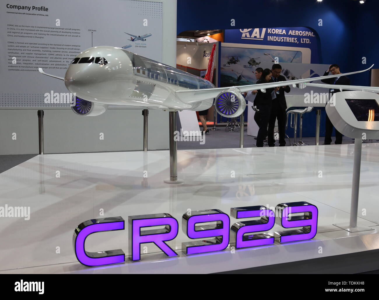 France. 17th June, 2019. Paris, France. 17th June, 2019A scale model of a CR929 long-range airliner, developed by CRAIC (China-Russia Commercial Aircraft International Corp Ltd), on display at the 2019 Paris Air Show opened at Le Bourget Airport. Marina Lystseva/TASS Credit: ITAR-TASS News Agency/Alamy Live News - Stock Image