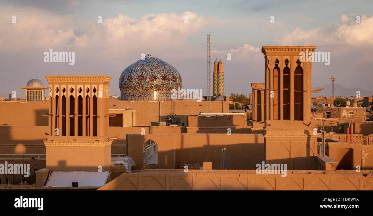 The skyline of Yazd Iran at sunset. - Stock Image