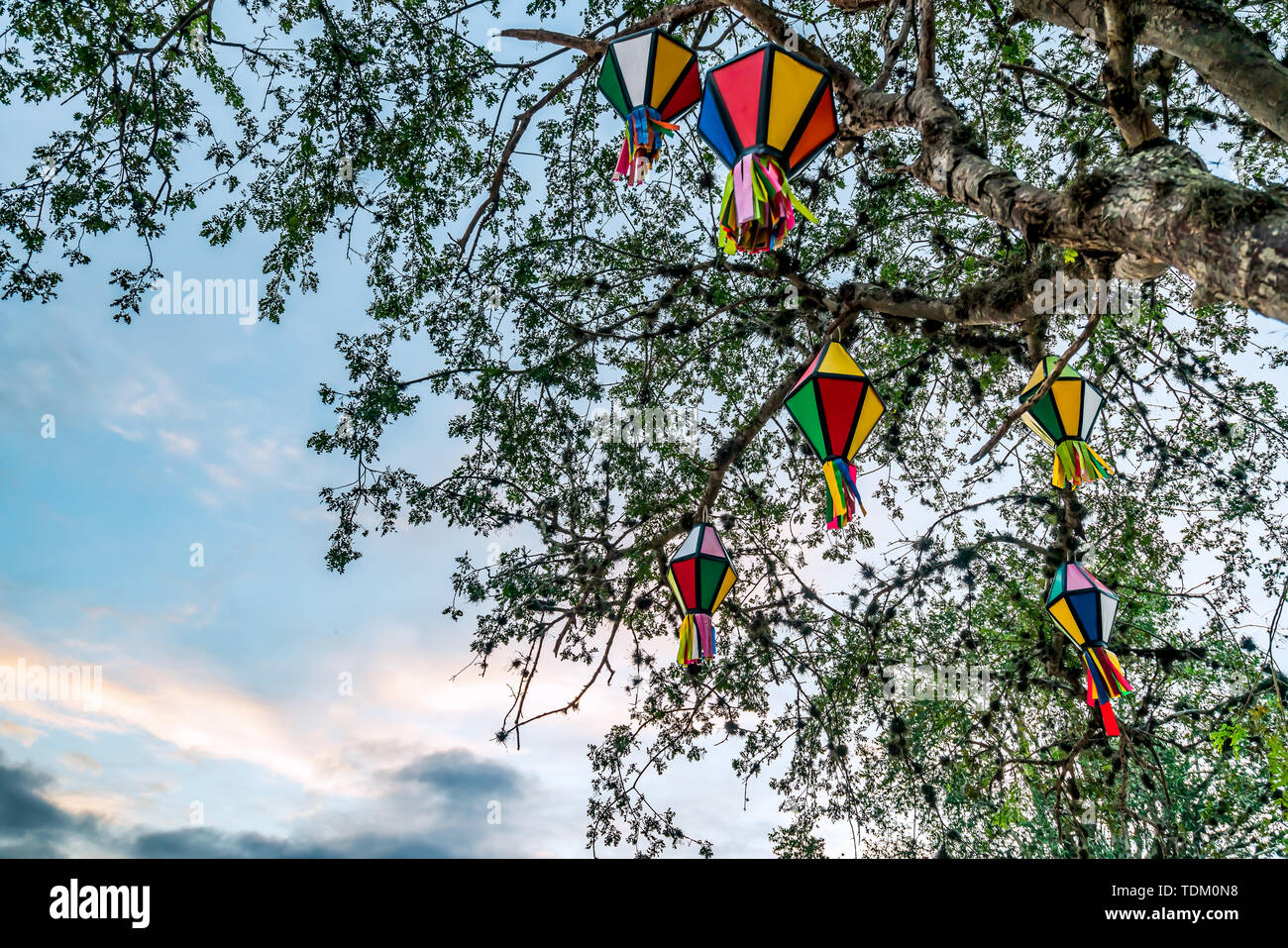 Festa Junina, Sao Joao, Party with colorful Flags and Balloons it happens in June, mostly in Northeast of Brazil. - Stock Image