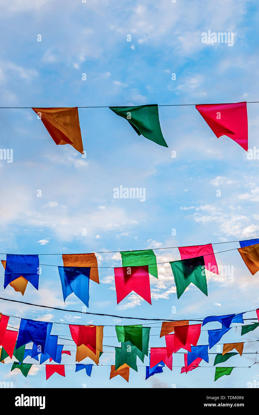 Festa Junina, Sao Joao, with Party small colorful Flags it happens in June, mostly in Northeast of Brazil. - Stock Image