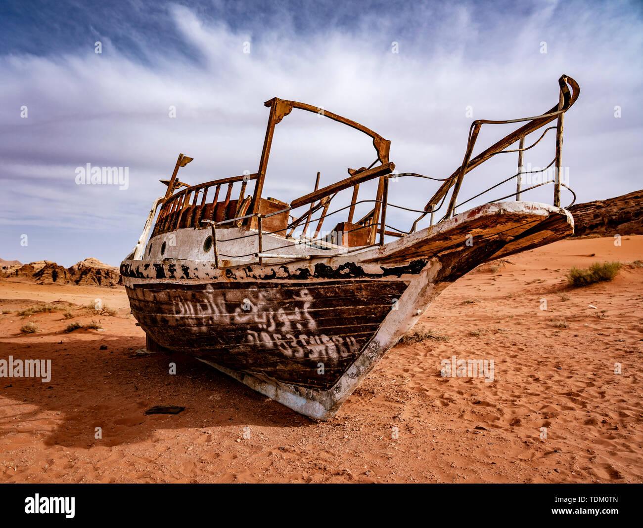 Strange Boat Stuck on Sand Hundres of KM From Nearest Water in Wadi Rum Jordan. Stock Photo
