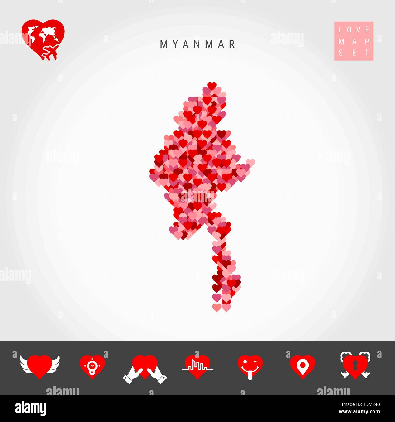 I Love Myanmar. Red and Pink Hearts Pattern Vector Map of Myanmar Isolated on Grey Background. Love Icon Set. - Stock Vector