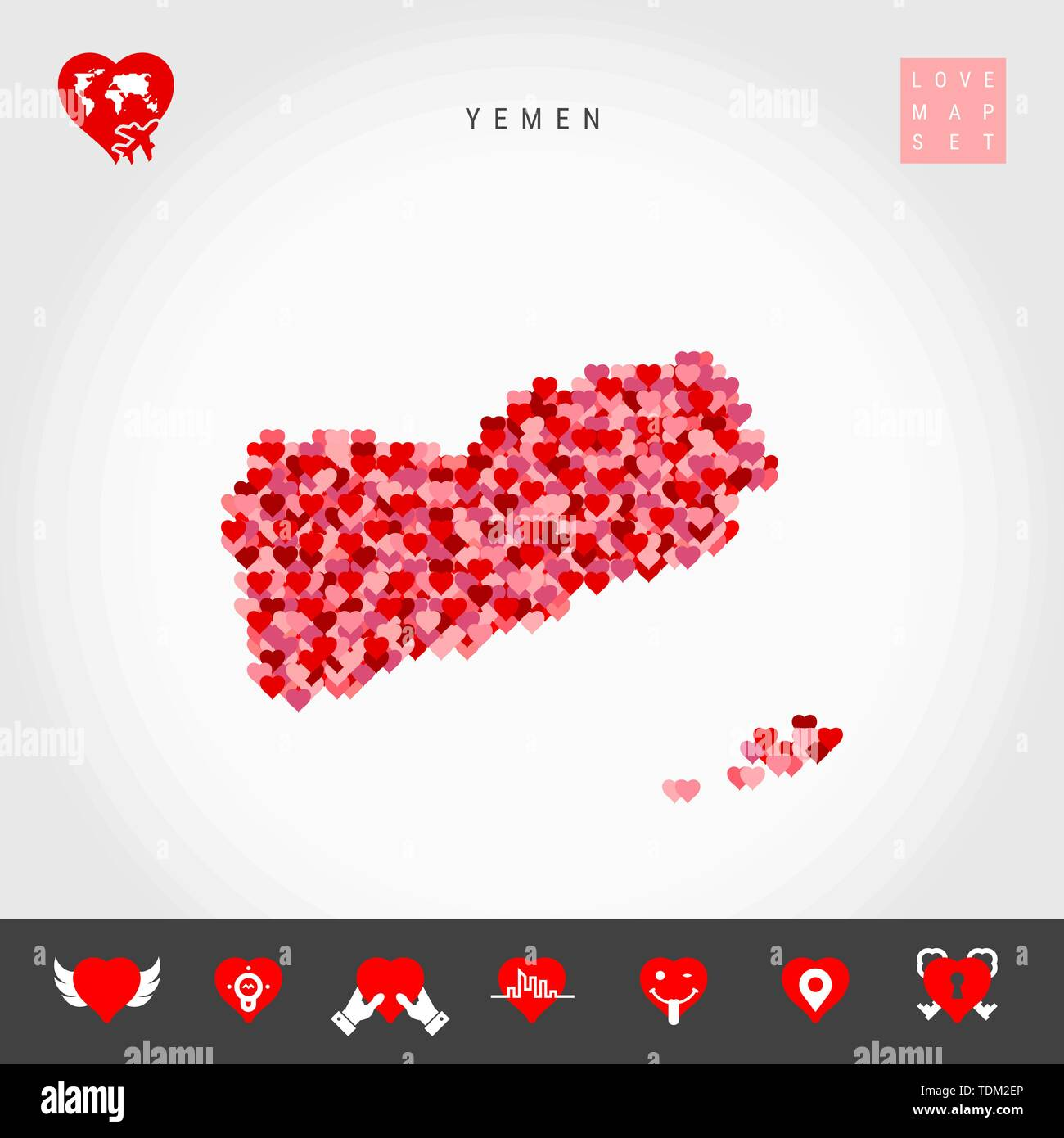 I Love Yemen. Red and Pink Hearts Pattern Vector Map of Yemen Isolated on Grey Background. Love Icon Set. - Stock Vector