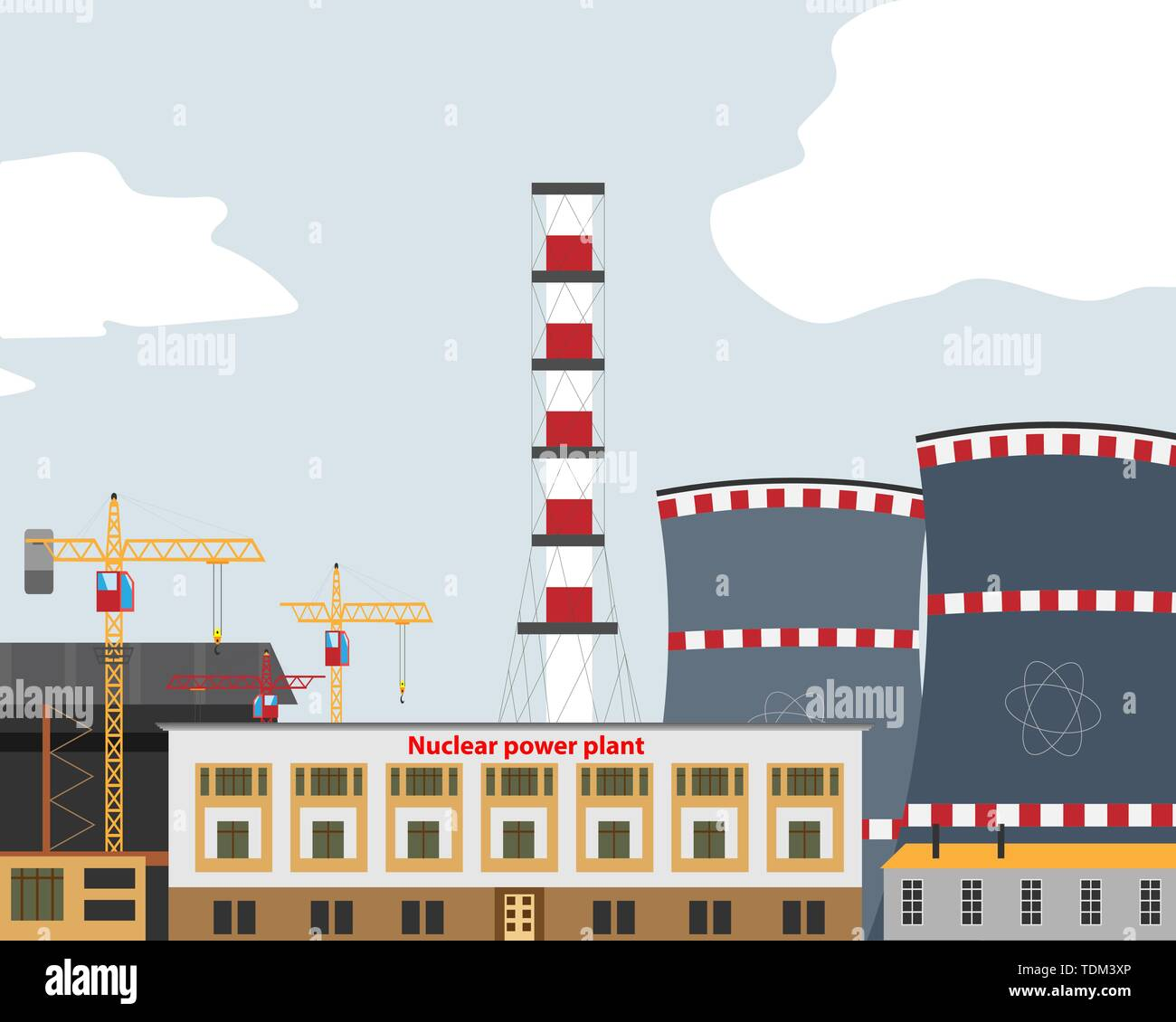 Banner with Nuclear Power Plant , Thermal Station. Nuclear Reactor. Vector Illustration - Stock Image