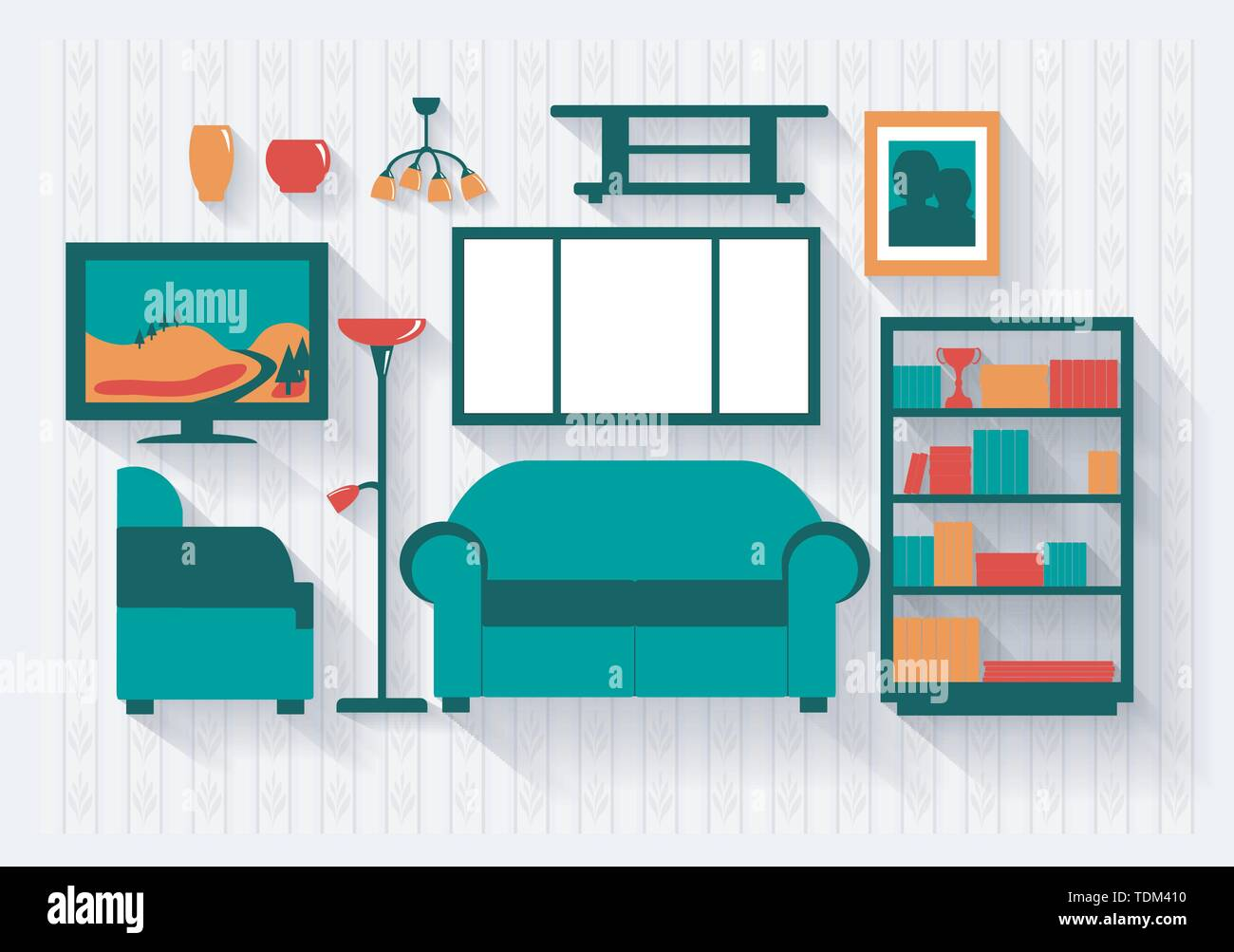 Lounge or Sitting Room with Bookcase and Furniture Long Shadows All items grouped separately and easy to move or edit - Stock Image